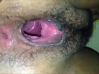 Bottomless black pussy - closeup