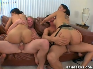 Three sexy girls in uniform get their asses fucked