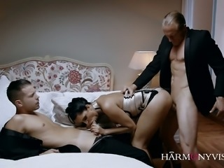 Splendidly hot Russian babe Kira Queen takes on two stiff cocks at once