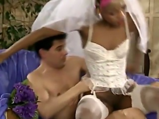 Interracial bride hot kissing with ass to pussy fucking style by white