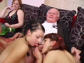 Young girls dance for grandpa before suck his cock