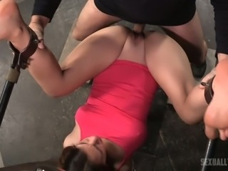Bootyful brunette chick Devilynne gets restrained and double team fucked rough