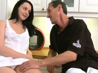 Crazy old fucker is happy to slam pussy of a young cutie