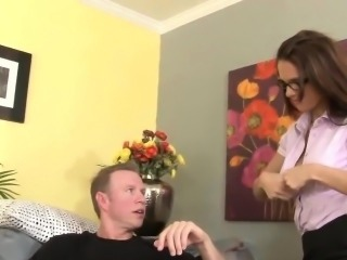 Hot teacher Jennifer rides a stiff cock