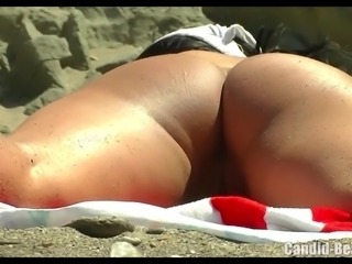 Shaved Pussy and Hairy Ass Nudist Milfs Beach Voyeur HD