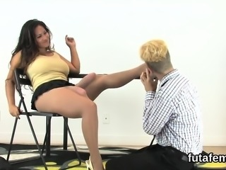 Girls bang boyfriends anal with oversized strap-ons and blas