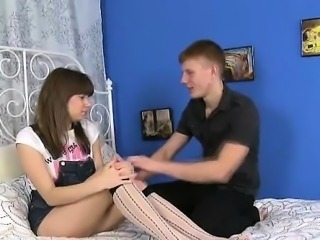 Cute babe gets her vagina examined before trio sex