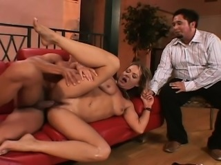 Hubby watches his hotwife fuck a hung gigolo and his aged pimp