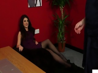 Sweet british voyeur humiliating tugging sub