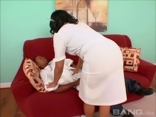Naughty nurse Patty Cake cannot resist a fat black dick