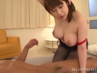 Busty Japanese cowgirl in nylon pantyhose getting her juicy pussy being licked