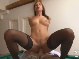 Dazzling brunette gal fucking dirty on a pool table