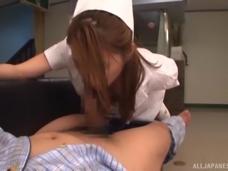 Japanese nurse sucks a dick and receives it in her hairy pussy