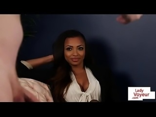 Ebony voyeur instructs sub how to jerk off