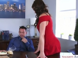 Sexy and flirty co worker Tina Kay always finds time for sex