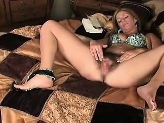 Blonde amateur MILF pov toys fingering shaved cunt