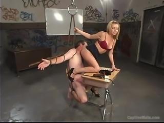 Beautiful blonde Lexi is an unforgiving mistress, as her older male slave Les...