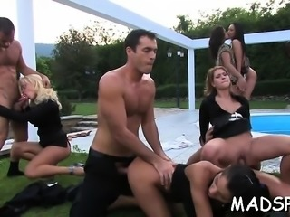 Kinky sex party with wild honeys getting fucked like crazy