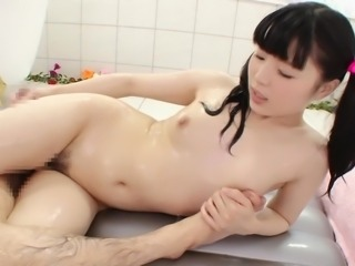japanese cutie sucks cock and gives a body rub