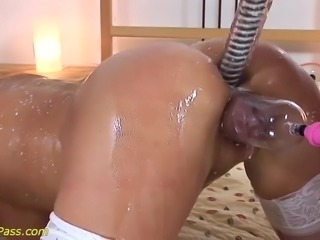 extreme horny skinny mature gets hot pussy pumped and deep anal fucked