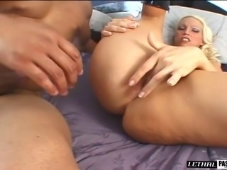 Luscious blonde wants to bounce on a stiff rod after sucking it