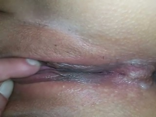 Creamy pussy of my sweet girlie and her charming asshole close-up