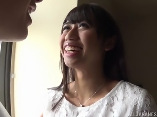Stunning Japanese chick gets naked for a lucky hunk's prick