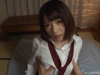 Sweet Japanese school girl spreads her legs for a cock