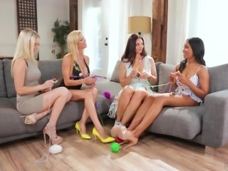 Fake tits pornstar lesbian loving pussy licking in group porn