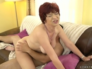 Wild granny Donatella loves fucking young men in their 20s and she's so hungry