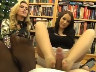 My two perverted colleagues give me great footjob