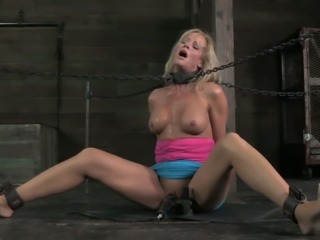 Stunning  immobilized busty blonde MILF gets mouthfucked tough