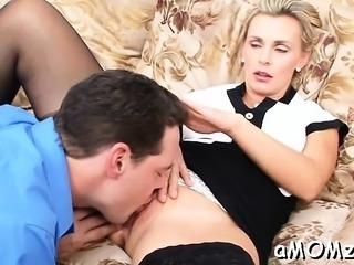 Hungry mature is crazy to get mouth and boobs fucked hard