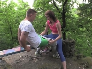 Denissa has a great time bouncing on a trainter's big dick