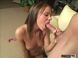 After flashing all her naked body Addison Rose gives a stout BJ