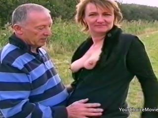 Mature British couple are filmed having risky sex outside