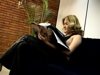 Lewd blonde Aretha gives an Indian guy and rides a blowjob