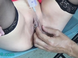 Tortured Girl with Needles Injection Saline in Tit and Pussy