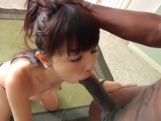 fashionable asian cowgirl in thong displaying her medium ass then giving huge...