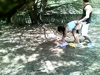 Owned outdoor in voyeur brunette teen