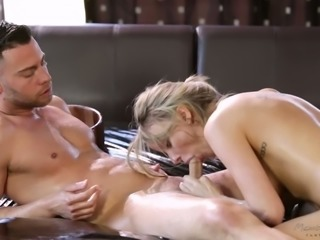 Oiled emotional girl Pristine Edge gets totally into riding oiled big cock