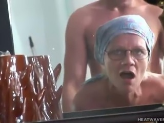 Hairy mature cunt of slutty perverted housewife in glasses is fucked from behind