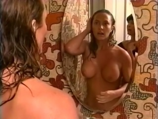 Busty and delicious white lady in the shower room nude