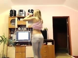 Blonde Teen In Lingerie Striptease