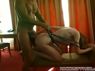 Frantic anal sex with petite milk skinned hooker and Rocco