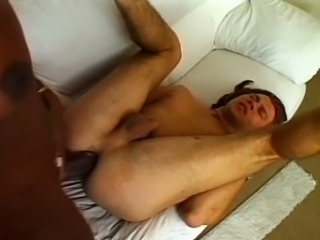 This guy does a great job taking this shemale's big cock up his asshole