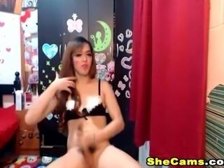 Asian Shemale Jerks her Cock Till She Cum