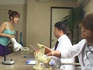 Doctor blown by an adorable Japanese girl in pigtails