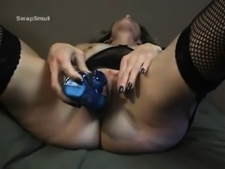 Busty blonde toys her twat on webcam