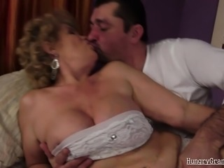 Horny grandma gives titjob and fucks